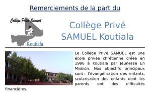 Letter Ecole Samuel